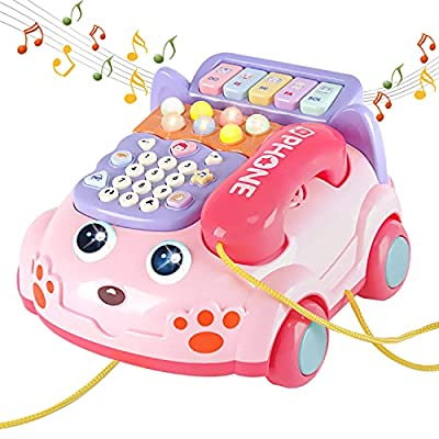Baby Toy Phone Cartoon Simulated Landline Toddler Phone Drag Function Play Phone with Call, Piano, Music and Light Early Education Toys Creative and Practical Gift for Kids and Children by SHANTOU BAYIMI TECHNOLOGY CO., LTD