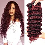 99j Deep Wave Curly Human Virgin Hair 4 Bundles 10 12 14 16 Inches 50g/Bundle Wine Red Bungundy Color Sew In 100% Unprocessed Human Remy Hair Weave Double Drown Weft Tight And Neat (10 12 14 16)
