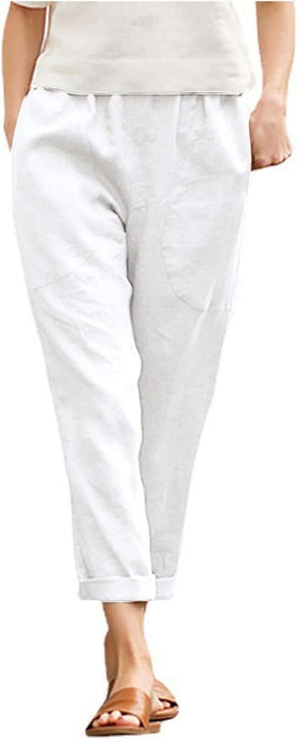 Bikegna White Linen Pants for Dedication Pocket Women Ca Trousers Tightness 67% OFF of fixed price