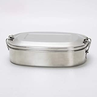 Aoile 304 Stainless Steel Square Lunch Box with Buckle Leak-Proof Food Container Bento Box 500ML Double grid