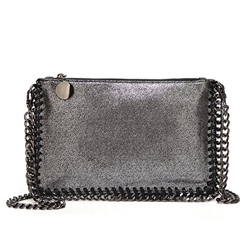 Angleliu Damen PU lässigen Kette Handtasche Modisch Schultertaschen Glitzer Beuteltasche (Kleines Paket schwarz und silber)
