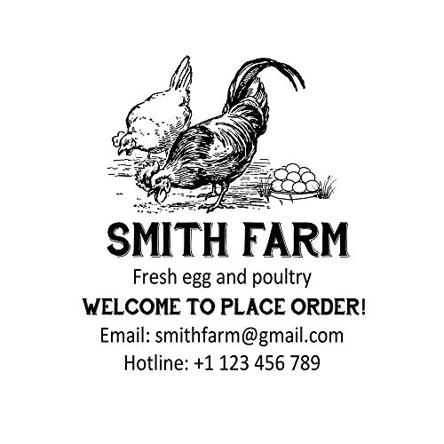 Custom Farm Stamp Personalized Fresh Chicken Egg Poultry Design Business Stamps Self Inking Welcome to Place Order Rubber Stamper