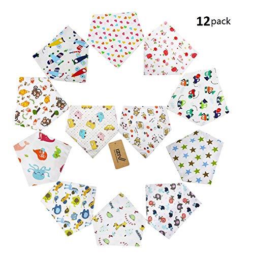 iZiv(TM) Bavaglino Neonato - Confezione da 12 Disegni Bandana Bavaglini con Bottoni Regolabile, Morbida Fodera per Bambino 0-3 anni (Colore-2)