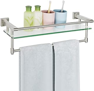 Alise SUS 304 Stainless Steel Bathroom Towel Bar/ Rail with 8mm-Thick Tempered Glass Shelf Wall MountBrushed FinishGK9012