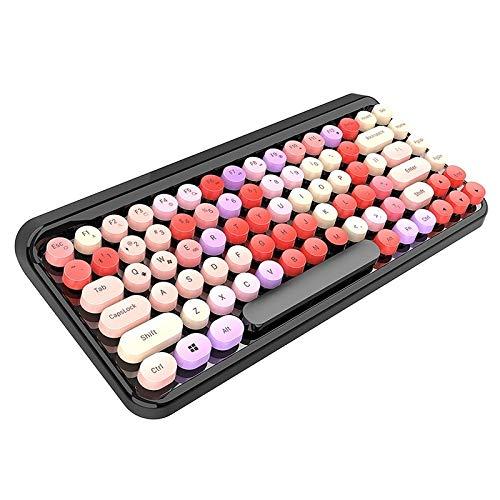 Zale tragbare Tastatur, kabellose Bluetooth-Gaming-Tastatur, Punk-Tastatur für Desktop, Laptop, Tablet, ultradünn und leise Schwarz / mehrfarbig