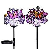 Doingart Outdoor Solar Garden Lights - 2 Pack Solar Powered Garden Stake Lights with 18 Butterflies and Copper String Lights, Multicolor
