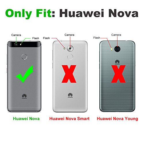 J&D Kompatibel für Huawei Nova Leder Hülle, [Handytasche mit Standfuß] [Slim Fit] Robust Stoßfest PU Leder Flip Handyhülle Tasche Hülle für Huawei Nova Hülle - Schwarz - 2