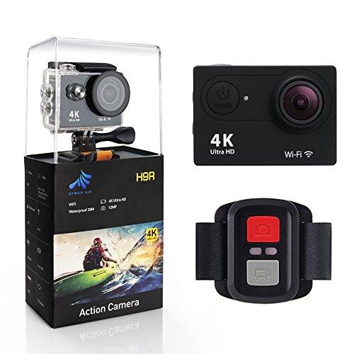 Epochair H9RS waterproof anti-shaking video sport Action Camera, 5,1cm WiFi 4K Ultra HD 12MP fotografia subacquea grandangolare 170gradi ricaricabile telecomando per videocamera DV–nero
