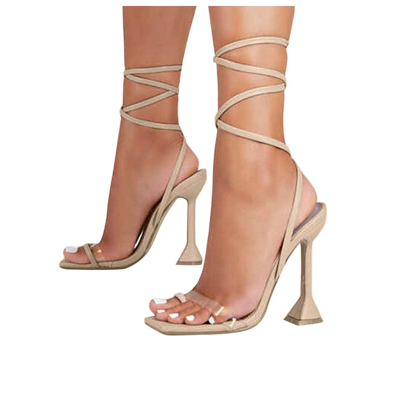 Padaleks Women's High Heels Flip Flops Square Ring Toe Stiletto Slides Sandals Clear Open Back Strappy Slippers