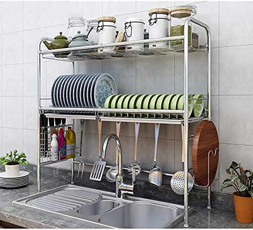 Rejilla de secado sobre el fregadero, estante de exhibición de escurridor de platos de acero inoxidable de 2 niveles, organizador de vajilla de encimera que ahorra espacio con soporte para u