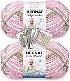 Bernat Baby Blanket Yarn - Big Ball (10.5 oz) - 2 Pack Bundle with Patterns (Little Roses)