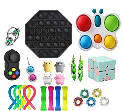 DIANNAO 25pcs Fidget Toys Pack, Sensory Fidget Toys Cheap Rainbow, Fidget Toy Set Figetgets-Toys Pack Fidget, Fidget Set with Simple Dimple Fidget Toy, Gifts for Kids& Adults (Black, 1)