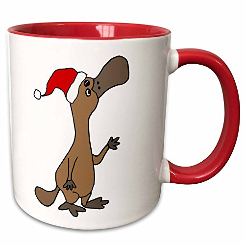 3dRose 263853_5'Hilarious Cute Duck-billed Platypus in Santa Hat Christmas Art Ceramic Mug, 11 oz, Red/White