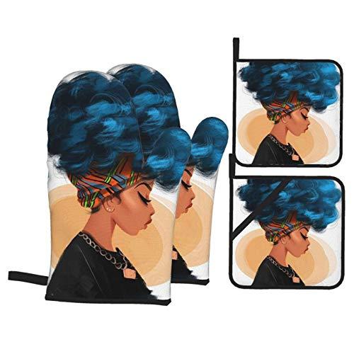 MZZhuBao Guantes de horno de pelo rizado de la chica africana y soportes para ollas, resistentes al calor, guantes para horno de microondas para hornear, cocinar a la parrilla, barbacoa