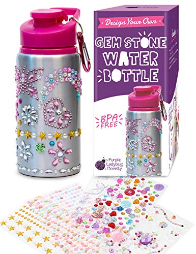 Purple Ladybug Decorate Your Own Water Bottle for Girls with Tons of Rhinestone Glitter Gem Stickers - BPA Free, Kids Water Bottle Craft Kit - Cute Gift for Girl, Fun DIY Arts and Crafts Activity