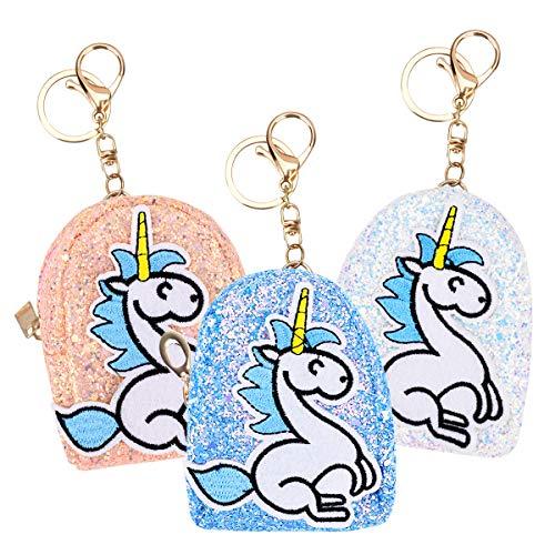 YoungRich 3 UNIDS Monedero Bolso de Fiesta Mujer Unicornio Mini Monedero Brillante de Lentejuelas Cartera con Cadena para Monedas Llaves Tarjetas Niña 3 Colores Surtidos 3.1x2.0x4.0inch