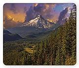 N\A Oregon Mouse Pad, Mount Hood Majestic Nature fotografía Pastoral idílica temática en Temporada de Verano, Tamaño estándar rectángulo Alfombrilla de Goma Antideslizante