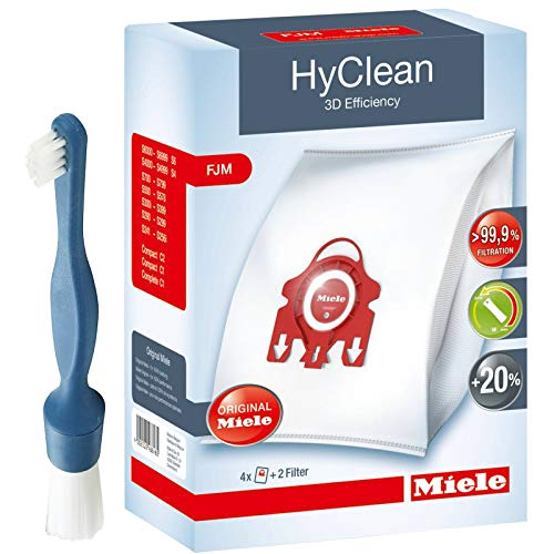 Genuine Miele FJM HyClean 3D Bags (Pack of 4) + Cleaning Brush for S6000 S6 S7000 S7 Vacuum Cleaner