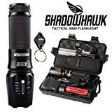 Shadowhawk X800 Super Bright Tactical Flashlight, Rechargeable (18650 Battery Included), Zoomable, IP65 Water-Resistant, 1200 Lumens CREE LED, 5 Light Modes for Camping and Hiking