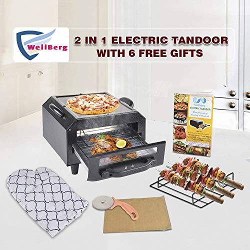 Wellberg iron 2 in 1 Electric Tandoor with 6 Gifts (Black, 10 IN)