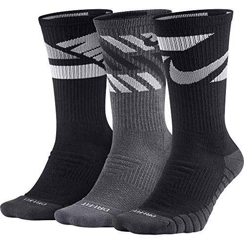 Nike Everyday Max Cushion Crew Training Sock, Unisex Nike Socks with Sweat-Wicking Dri-FIT technology, Multi-Color (3 Pair), S