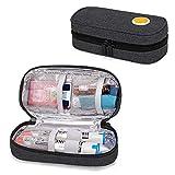 CURMIO Kühltasche für Adrenalin, Adrenalin Aufbewahrungstasche, Reisetasche für Insulin oder Adrenaliner Zubehör wie Auvi-Q, EpiPen und Pillenflaschen. (OHNE ZUBEHÖR ENTHALTEN), Schwarz
