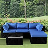 Leaptime Patio Sofa 5-Piece Black PE Rattan Couch Outdoor Garden Furniture with Royal Blue Cushion Party Sectional Sofa Poolside Couch Set