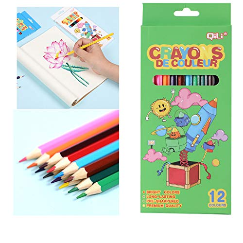 fine_fine 12 Count Colored Pencils Set, Wood Painting Pen Color Pencils Kids Drawing, for Adult Coloring Books, Assorted Colors Children Hand-made Colored Pencil (D)