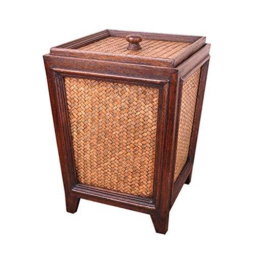 Trend-Cubo de Basura para Cocina Fabricado Cesta de papel hecha a mano de bambú de la vendimia, caja de almacenamiento exótica de estilo clásico oriental, caja de almacenamiento del hogar de la sala d