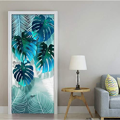Puerta Mural 3D Puerta Resumen Hoja Cocina Creativa Sala PVC Autoadhesivo Papel Pintado Arte Decoración Del Hogar 90 x 200 cm