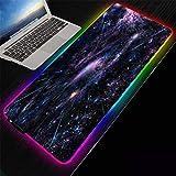 ZETIAN Große Bunte leuchtende RGB-Gaming-Mauspad rutschfeste Gummibasis Computer Tastatur Mauspad rutschfeste Computer PC-Planeta_Los 400X800X4MM