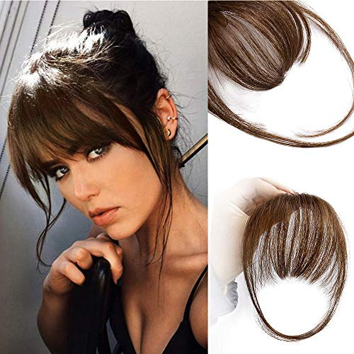 AISI QUEENS Clip in Bangs 100% Human Hair Extensions Reddish Brown Clip on Fringe Bangs with nice net Natural Flat neat Bangs with Temples for women One Piece Hairpiece (Air Bangs, Medium Brown)