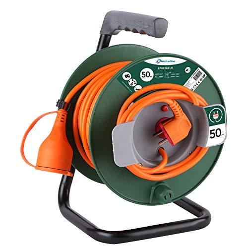 Electraline 20866149G Rallonge Prolongateur Jardín 50 m avec enrouleur 16A - Section 3G1,5 mm² Orange/Vert