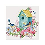 ZHONGJI Coasters Drinks Cup Square Mats Birdhouse Swallow Blue Bird Butterfly Cork Back Protect Furniture Decorative Kitchen Coffee Table 3.7 Inch Set of 4