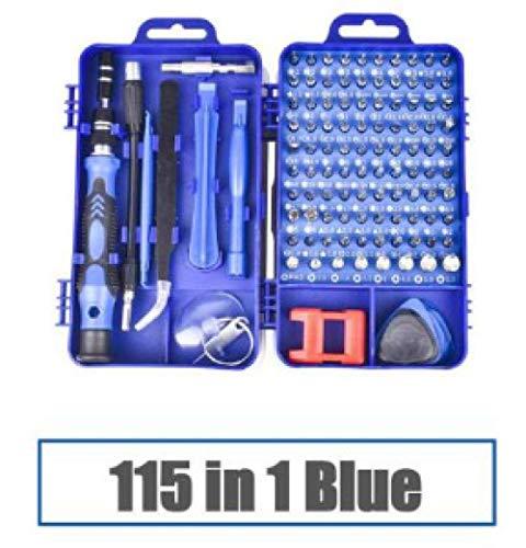 ZTBXQ Wohnaccessoires Schraubendreher-Set 115 in 1 Bit Präzisions-Magnetschraubendreher Torx-Bits Isolierte Multitools Telefonreparatur-Bithalter 115 in 1 Blau