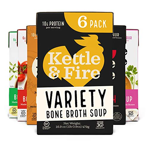 Kettle and Fire Mushroom Chicken, Beef, Chicken, Thai, Tomato, Miso Bone Broth Soup Variety Pack, Gluten Free, High in Protein and Collagen, 6 Pack