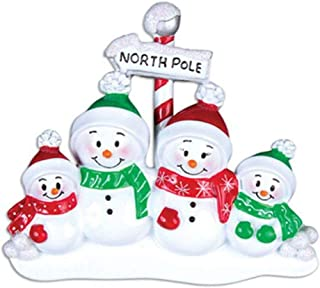 Personalized Christmas Ornaments North Pole Family of 4 s Christmas Tree Decorations Free Personalization Great Christmas Tree Ornaments Christmas Decorations