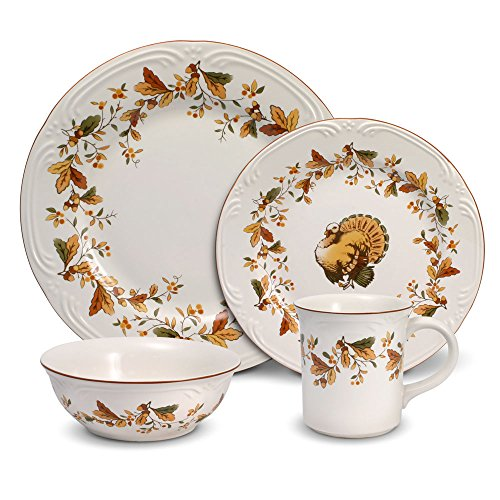 Pfaltzgraff Autumn Berry 16 Piece Dinnerware Set, Service for 4, Multi Colored
