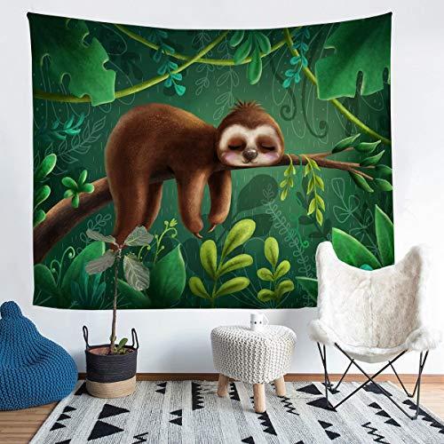 Manta de Pared con de perezosode Animales,Colgar en la Pared,de recámara, de Plantas Verdes, tamaño Extragrande, 69 x 91 cm