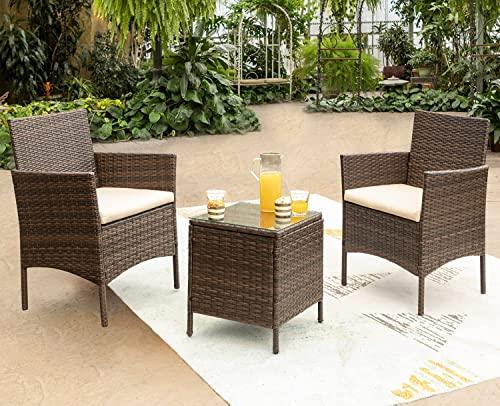 Devoko Rattan Bistro Set Garden Rattan Furniture Sets 2 Seater Patio Chair with Waterproof Table Outdoor Conversation Set(Brown)