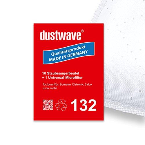 Sparpack - 10 Staubsaugerbeutel geeignet für Clatronic - BS 1227 / BS1227 Bodenstaubsauger - dustwave® Premiumqualität - Made in Germany