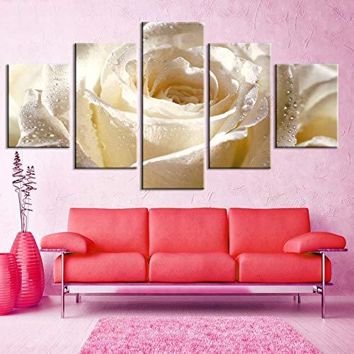 GUDOJK Arte de la Pared Lienzo Pinturas 5 Unidades Rosa Blanca Flor Cuadros Impresiones Él Decoración Poster para Living Ro Marco Modular 30x40 30x6030x80cm