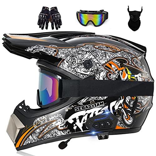 Bluetooth Casco de Motocross Adultos Casco de Cross Casco Moto Integral para MX Dirt Bike ATV Quad Enduro Downhill DH Off Road Scooter (Color : D, Size : XL(61-62CM))