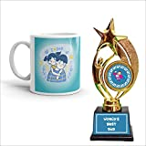 Family Shoping Fathers Day Gift I Love Dad Printed Ceramic Coffee Mug with Trophy Award for Fathers Day Special