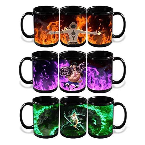 yrxh Douyin mit der gleichen magischen Keramik einteilig Lufei Farbwechselbecher Anime rund um Heißwassertemperatur Kaffeetasse-Andere Farbmuster + Decklöffel Bestellschein_301-400 ml