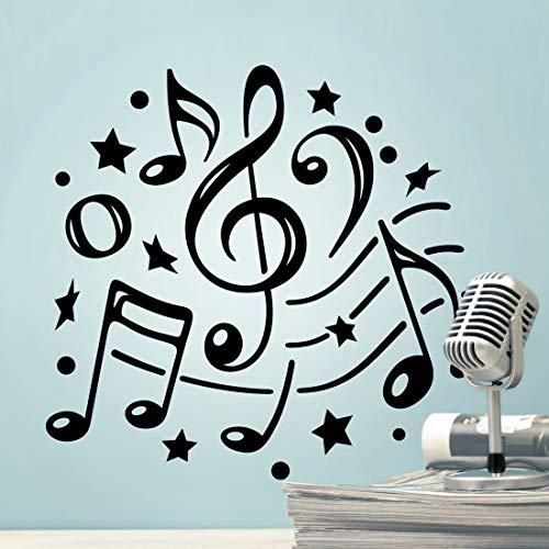 Adhesivo decorativo para pared con notas musicales para decoración de habitación, vinilo para el hogar, humor, cocina, chico, baile, dormitorio, estudio, frigorífico, cuarto de estar, nota