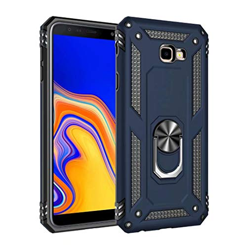 Smfu Funda Compatible Samsung Galaxy J5 Pro/J530/J5 2017 Carcasa [Robusto] 360°Anillo Metálico Soporte FundaCarcasa Híbrida Rugged Armor Choque Absorción de Caja[con Mica 1Unidades]-Azul