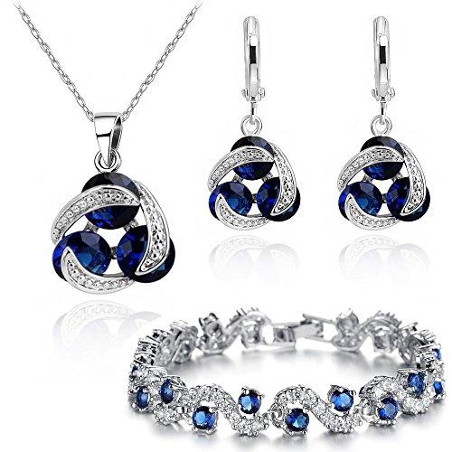 Juego de collar con colgante, pulsera y pendientes con circonita azul austriaca de imitación de zafiro, 45,7 cm, chapado en oro blanco de 18K