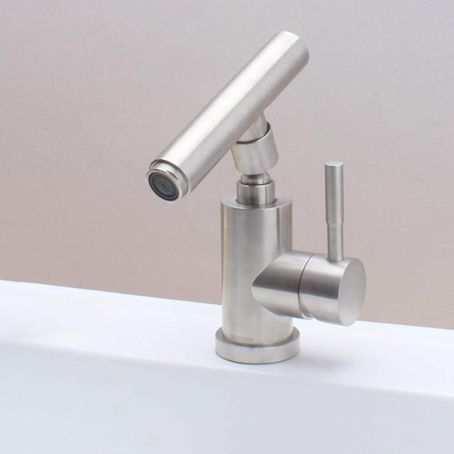 Stainless Steel Faucet Heightened Single Hole Wash Basin Faucet Hot and Cold Water Above Counter Basin Mixing Valve Faucet