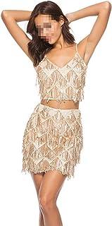 Xiuxiu Falda Sexy de Dos Piezas para Mujer, Lentejuelas con Lentejuelas en el Club Nocturno Temperamento de la Barra de Gama Alta para un Hermoso Vestido de cóctel por la Noche,Gold,L